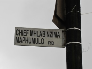 The newly renamed and misspelled Chief Mhlabunzima Maphumulo Road to Table Mountain, 2011